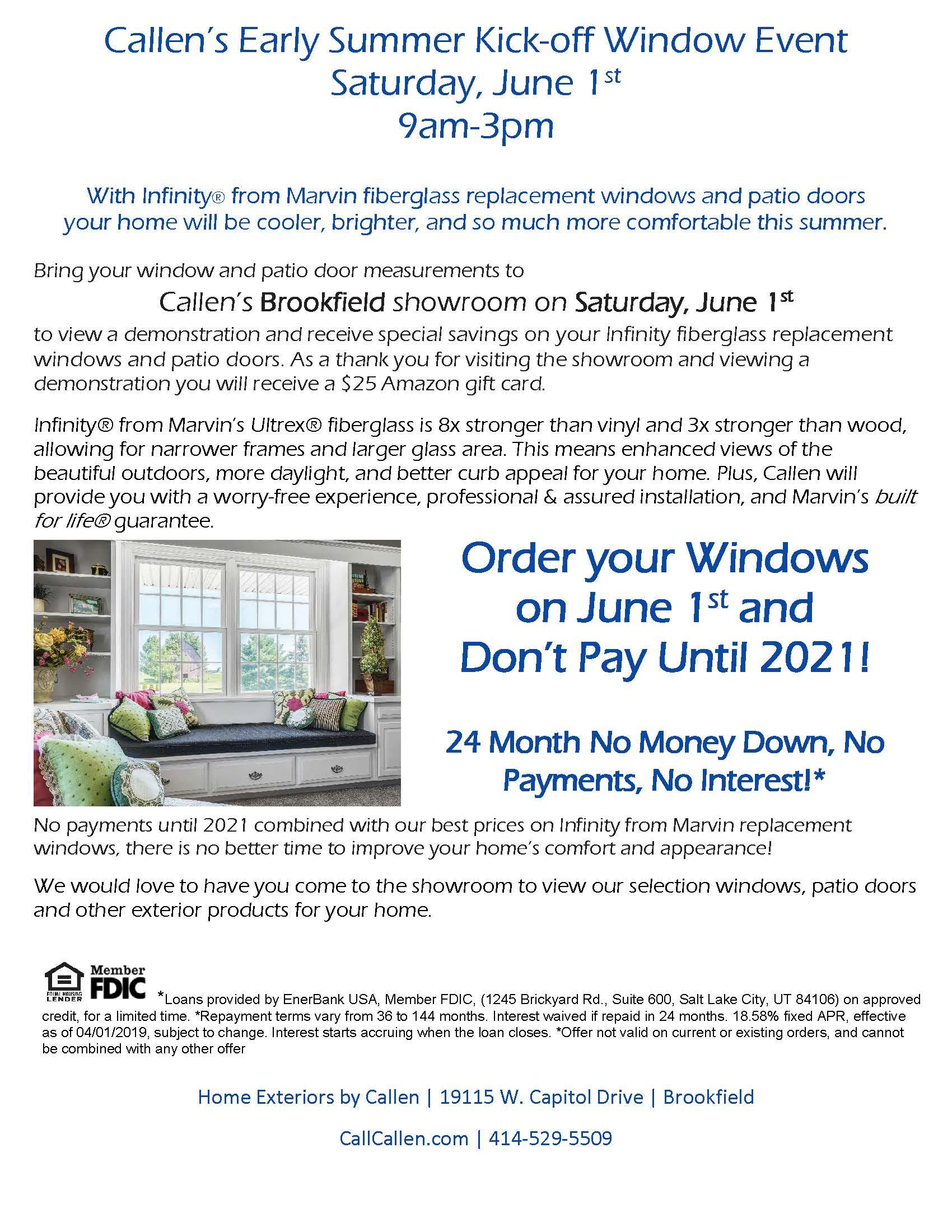 Callen Early Summer Kick-Off Window Event